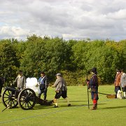 Firing a cannon during The Sealed Knot re-enactment of the 1646 Battle of Stow