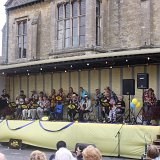 Spa Strummers playing to the arena in the town square