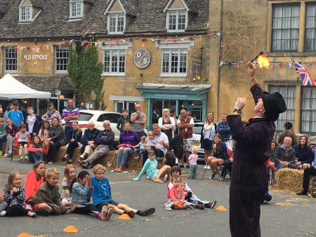 Watching a fire-eater at the 2017 Stow Cotswold Festival